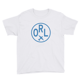 RWY23 - ORL Orlando T-Shirt - Airport Code and Vintage Roundel Design - Youth - White - Gift for Child or Children