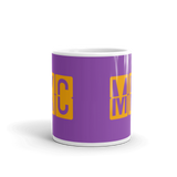 RWY23 - MKC Kansas City, Missouri Airport Code Coffee Mug - Teacher Gift, Airbnb Decor - Orange and Purple - Side
