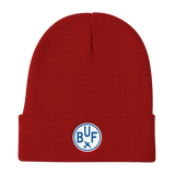 RWY23 - BUF Buffalo Winter Hat - Embroidered Airport Code and Vintage Roundel Design - Red - Student Gift