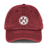 RWY23 - MKE Milwaukee Cotton Twill Cap - Airport Code and Vintage Roundel Design - Maroon - Front - Aviation Gift
