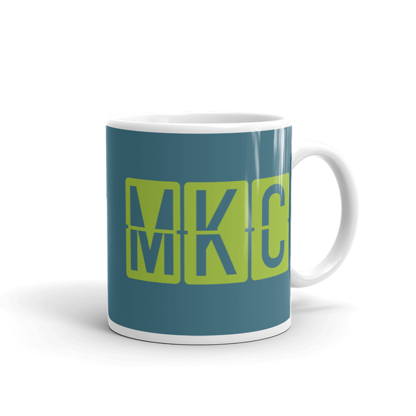 RWY23 - MKC Kansas City, Missouri Airport Code Coffee Mug - Graduation Gift, Housewarming Gift - Green and Teal - Right