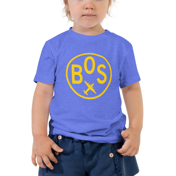 RWY23 - BOS Boston T-Shirt - Airport Code and Vintage Roundel Design - Toddler - Blue - Gift for Child or Children