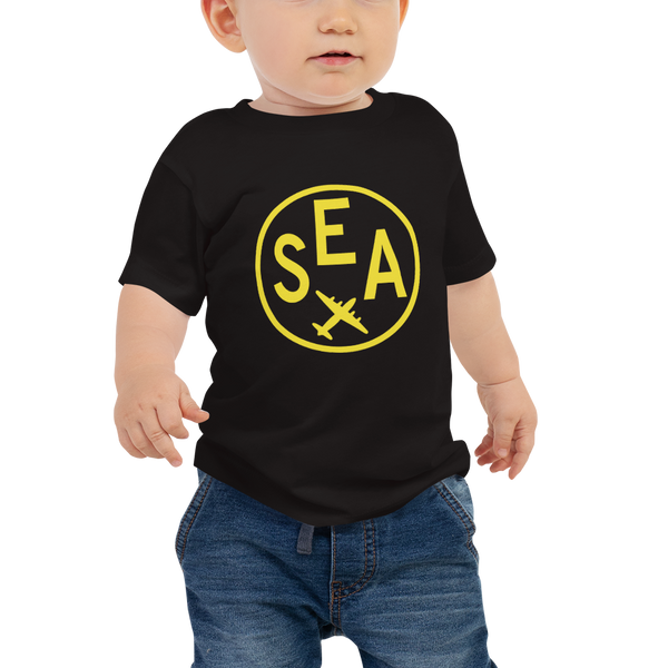 RWY23 - SEA Seattle T-Shirt - Airport Code and Vintage Roundel Design - Baby - Black - Gift for Child or Children