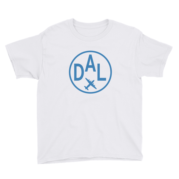 RWY23 - DAL Dallas T-Shirt - Airport Code and Vintage Roundel Design - Youth - White - Gift for Child or Children