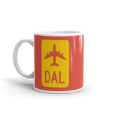 RWY23 - DAL Dallas Airport Code Jetliner Coffee Mug - Birthday Gift, Christmas Gift - Red and Yellow - Left