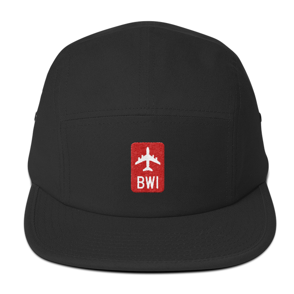 RWY23 - BWI Baltimore-Washington Retro Jetliner Airport Code Camper Hat - Black - Front - Student Gift