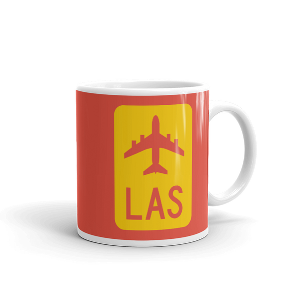 RWY23 - LAS Las Vegas Airport Code Jetliner Coffee Mug - Graduation Gift, Housewarming Gift - Red and Yellow - Right