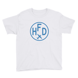 RWY23 - HFD Hartford T-Shirt - Airport Code and Vintage Roundel Design - Youth - White - Gift for Child or Children