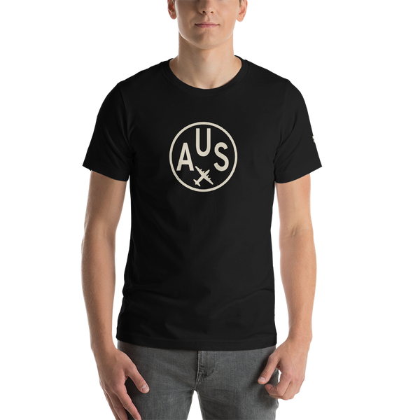 RWY23 - AUS Austin T-Shirt - Airport Code and Vintage Roundel Design - Adult - Black - Birthday Gift