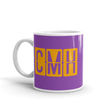 RWY23 - CMH Columbus, Ohio Airport Code Coffee Mug - Birthday Gift, Christmas Gift - Orange and Purple - Left
