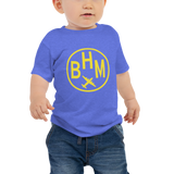 RWY23 - BHM Birmingham T-Shirt - Airport Code and Vintage Roundel Design - Baby - Blue - Gift for Grandchild or Grandchildren
