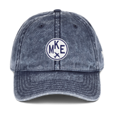 RWY23 - MKE Milwaukee Cotton Twill Cap - Airport Code and Vintage Roundel Design - Navy Blue - Front - Student Gift
