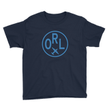 RWY23 - ORL Orlando T-Shirt - Airport Code and Vintage Roundel Design - Youth - Navy Blue - Gift for Grandchildren