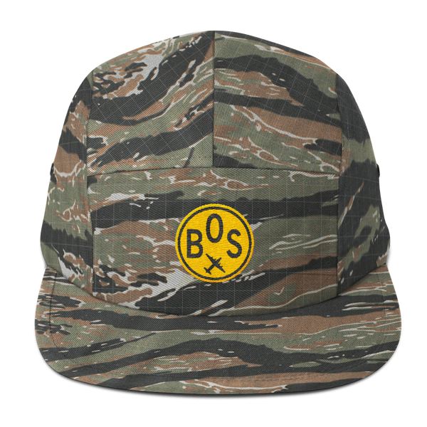 RWY23 - BOS Boston Camper Hat - Airport Code and Vintage Roundel Design -Green Tiger Camo - Gift for Him