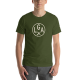 RWY23 - LGA New York T-Shirt - Airport Code and Vintage Roundel Design - Adult - Olive Green - Birthday Gift
