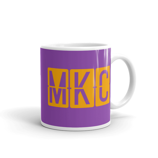 RWY23 - MKC Kansas City, Missouri Airport Code Coffee Mug - Graduation Gift, Housewarming Gift - Orange and Purple - Right