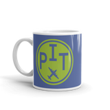 RWY23 - PIT Pittsburgh, Pennsylvania Airport Code Coffee Mug - Birthday Gift, Christmas Gift - Green and Blue - Left