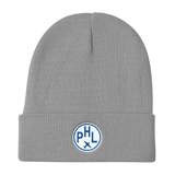 RWY23 - PHL Philadelphia Winter Hat - Embroidered Airport Code and Vintage Roundel Design - Gray - Birthday Gift