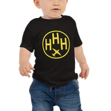RWY23 - HHH Hilton Head Island T-Shirt - Airport Code and Vintage Roundel Design - Baby - Black - Gift for Child or Children