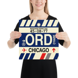 "RWY23 - ORD Chicago Airport Code Vintage Baggage Tag Design Poster - 14""x14"""