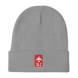 RWY23 - SLC Salt Lake City Retro Jetliner Airport Code Dad Hat - Grey - Student Gift