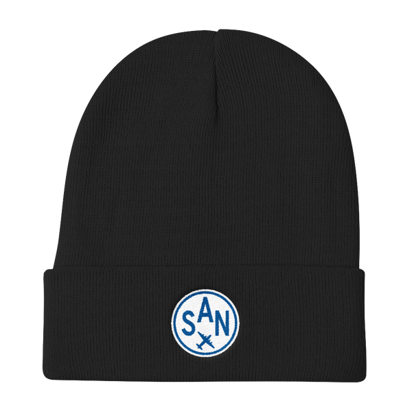 RWY23 - SAN San Diego Winter Hat - Embroidered Airport Code and Vintage Roundel Design - Black - Christmas Gift