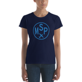 RWY23 - MSP Minneapolis-St. Paul T-Shirt - Airport Code and Vintage Roundel Design - Women's - Navy Blue - Gift for Wife