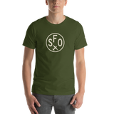RWY23 - SFO San Francisco T-Shirt - Airport Code and Vintage Roundel Design - Adult - Olive Green - Birthday Gift