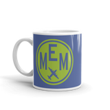 RWY23 - MEM Memphis, Tennessee Airport Code Coffee Mug - Birthday Gift, Christmas Gift - Green and Blue - Left
