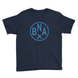 RWY23 - BNA Nashville T-Shirt - Airport Code and Vintage Roundel Design - Youth - Navy Blue - Gift for Grandchildren