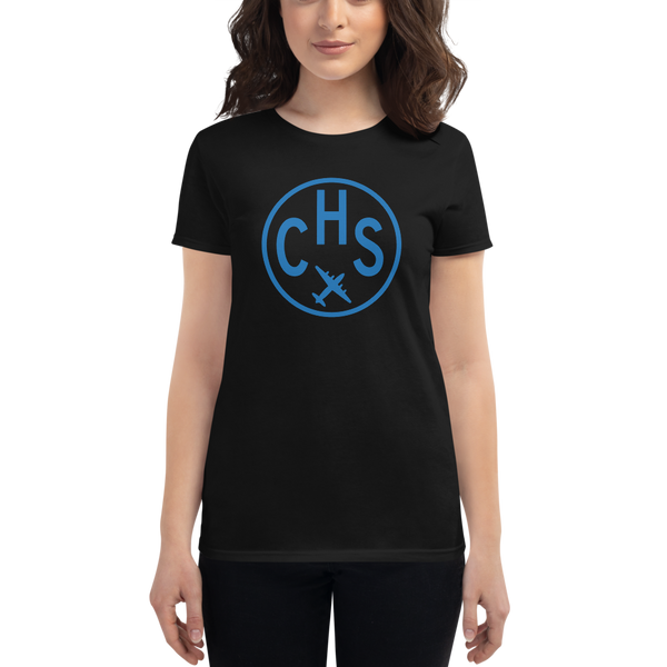 RWY23 - CHS Charleston T-Shirt - Airport Code and Vintage Roundel Design - Women's - Black - Gift for Girlfriend