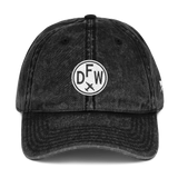 RWY23 - DFW Dallas-Fort Worth Cotton Twill Cap - Airport Code and Vintage Roundel Design - Black - Front - Christmas Gift