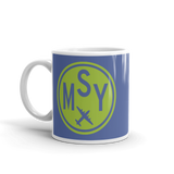 RWY23 - MSY New Orleans, Louisiana Airport Code Coffee Mug - Birthday Gift, Christmas Gift - Green and Blue - Left
