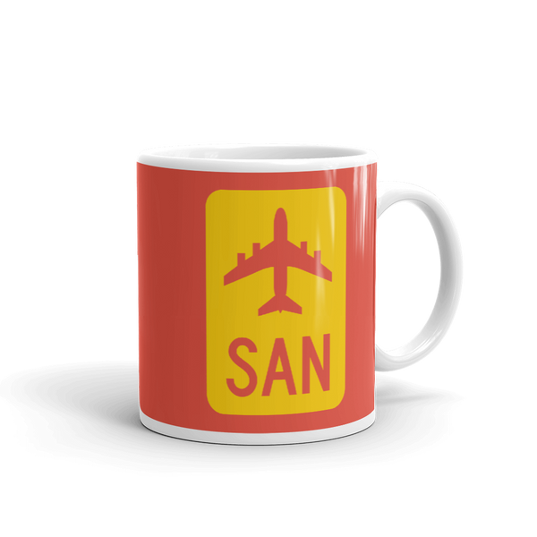 RWY23 - SAN San Diego Airport Code Jetliner Coffee Mug - Graduation Gift, Housewarming Gift - Red and Yellow - Right