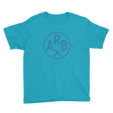 RWY23 - ARB Ann Arbor T-Shirt - Airport Code and Vintage Roundel Design - Youth - Caribbean blue - Gift for Kids