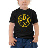RWY23 - PDX Portland T-Shirt - Airport Code and Vintage Roundel Design - Toddler - Black - Gift for Grandchild or Grandchildren