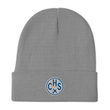 CHS Charleston Winter Hat • Embroidered Airport Code & Vintage Roundel Design