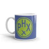 RWY23 - PHX Phoenix, Arizona Airport Code Coffee Mug - Birthday Gift, Christmas Gift - Green and Blue - Left
