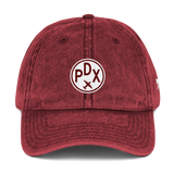 RWY23 - PDX Portland Cotton Twill Cap - Airport Code and Vintage Roundel Design - Maroon - Front - Aviation Gift