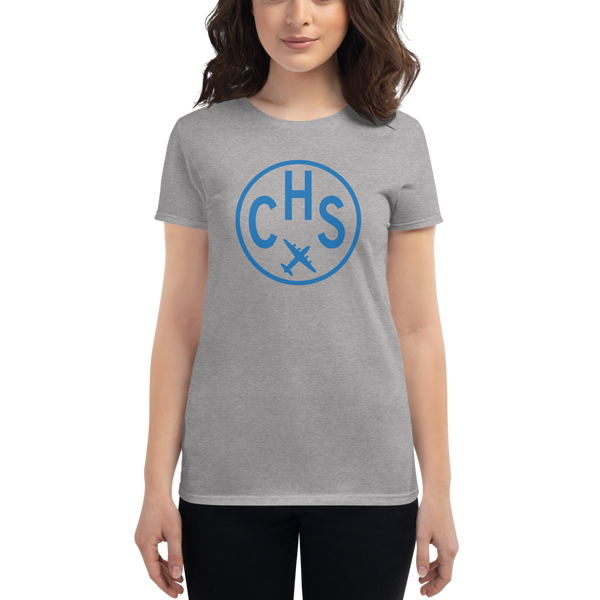 RWY23 - CHS Charleston T-Shirt - Airport Code and Vintage Roundel Design - Women's - Heather Grey - Gift for Her