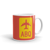 RWY23 - ABQ Albuquerque Airport Code Jetliner Coffee Mug - Graduation Gift, Housewarming Gift - Red and Yellow - Right