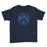 RWY23 - PHX Phoenix T-Shirt - Airport Code and Vintage Roundel Design - Youth - Navy Blue - Gift for Grandchildren