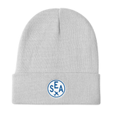 RWY23 - SEA Seattle Winter Hat - Embroidered Airport Code and Vintage Roundel Design - White - Aviation Gift
