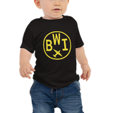 RWY23 - BWI Baltimore-Washington T-Shirt - Airport Code and Vintage Roundel Design - Baby - Black - Gift for Child or Children