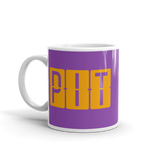 RWY23 - PIT Pittsburgh, Pennsylvania Airport Code Coffee Mug - Birthday Gift, Christmas Gift - Orange and Purple - Left