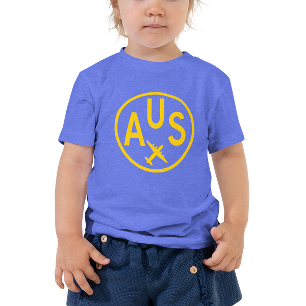 RWY23 - AUS Austin T-Shirt - Airport Code and Vintage Roundel Design - Toddler - Blue - Gift for Child or Children