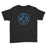 RWY23 - HFD Hartford T-Shirt - Airport Code and Vintage Roundel Design - Youth - Black - Gift for Grandchild