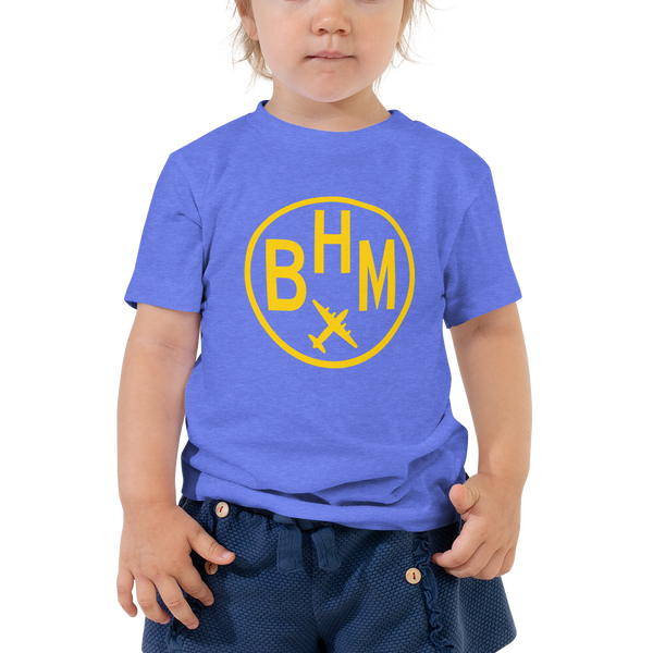 RWY23 - BHM Birmingham T-Shirt - Airport Code and Vintage Roundel Design - Toddler - Blue - Gift for Child or Children
