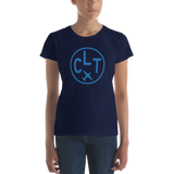 RWY23 - CLT Charlotte T-Shirt - Airport Code and Vintage Roundel Design - Women's - Navy Blue - Gift for Wife