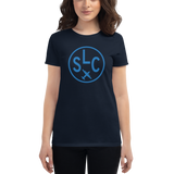 RWY23 - SLC Salt Lake City T-Shirt - Airport Code and Vintage Roundel Design - Women's - Navy Blue - Gift for Wife
